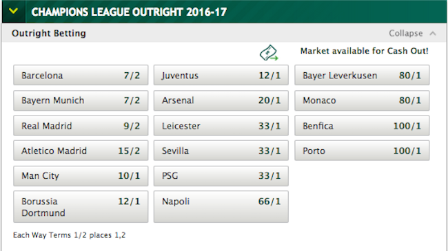 Betting odds for champions league bet on t20