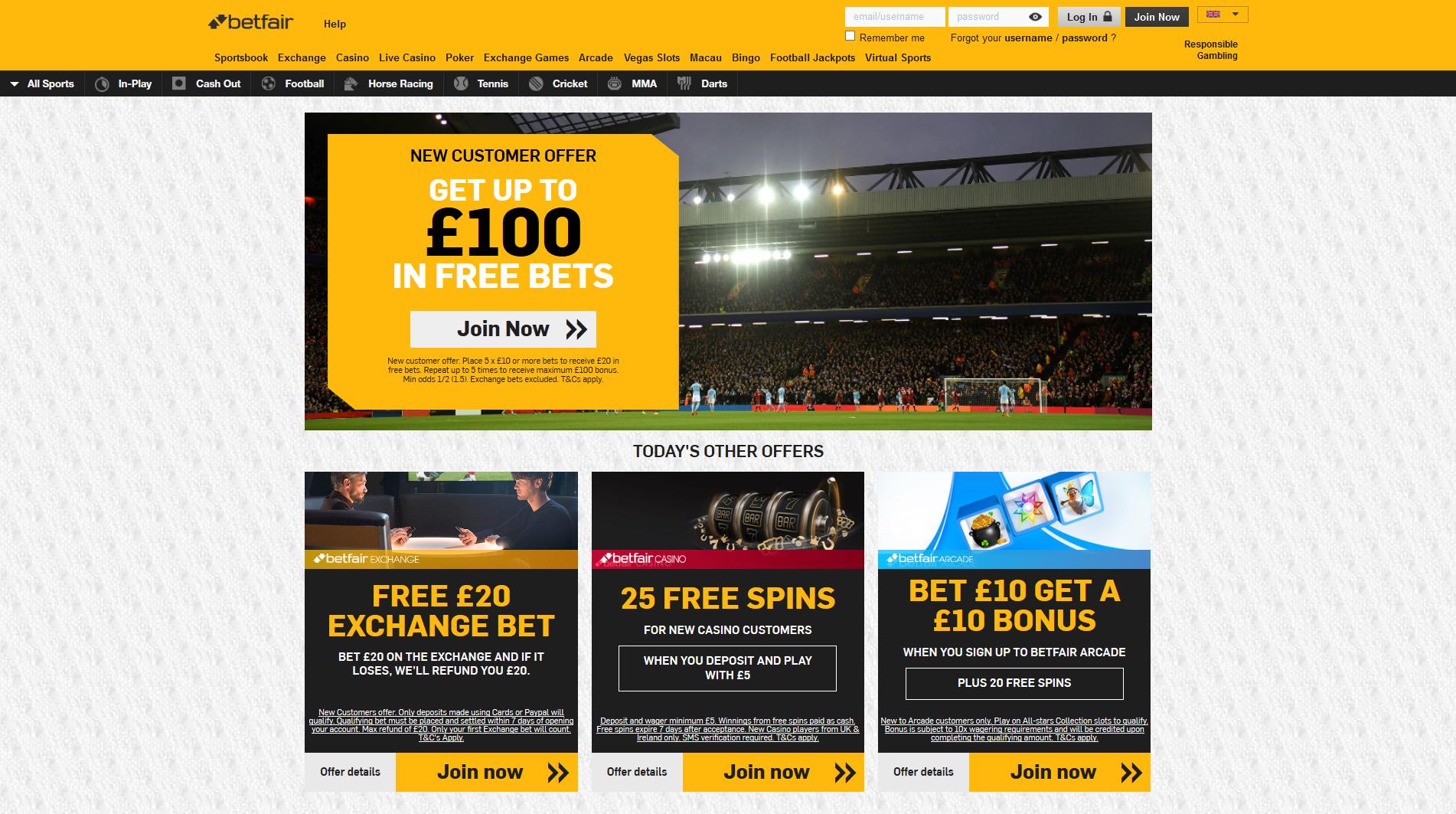 Betfair betting exchange