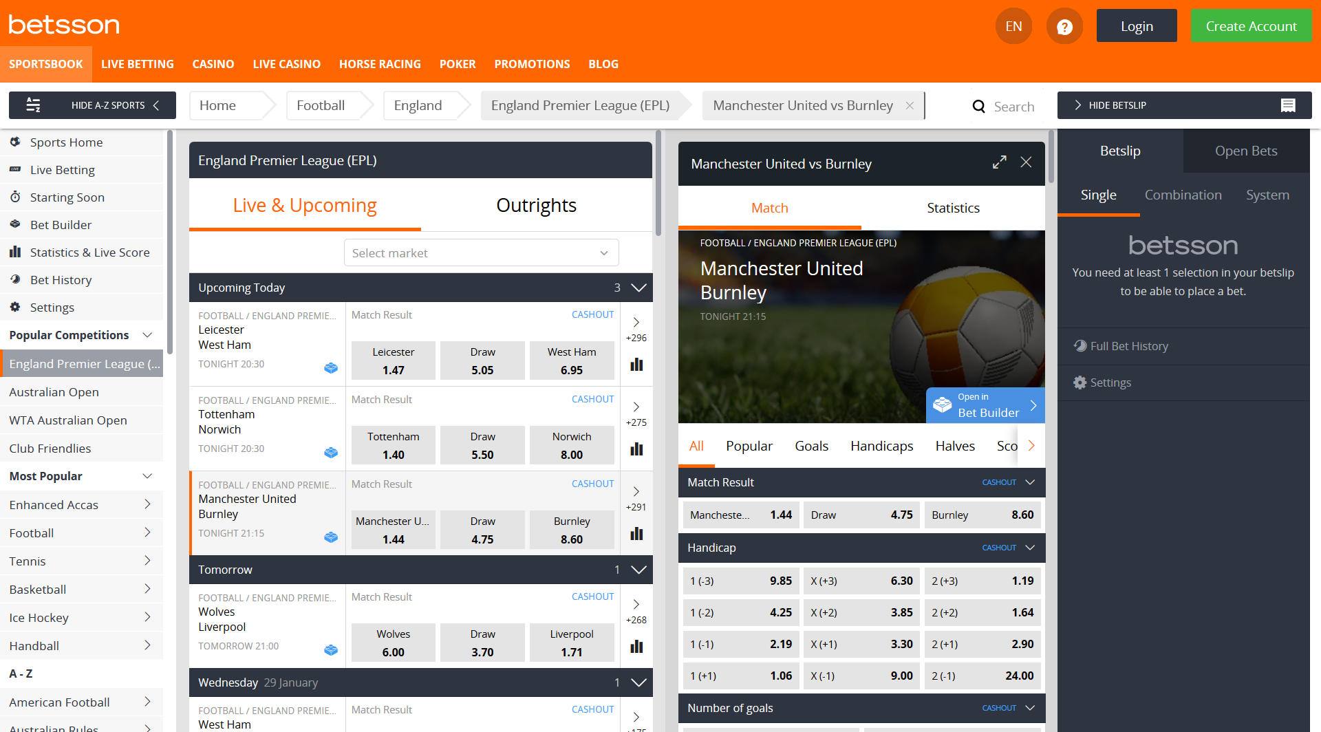 betsson sports betting offer