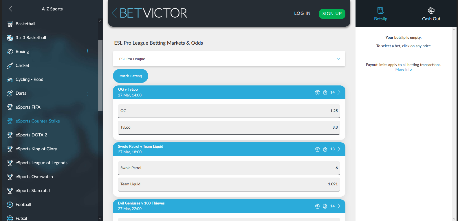 betvictor esports betting offer
