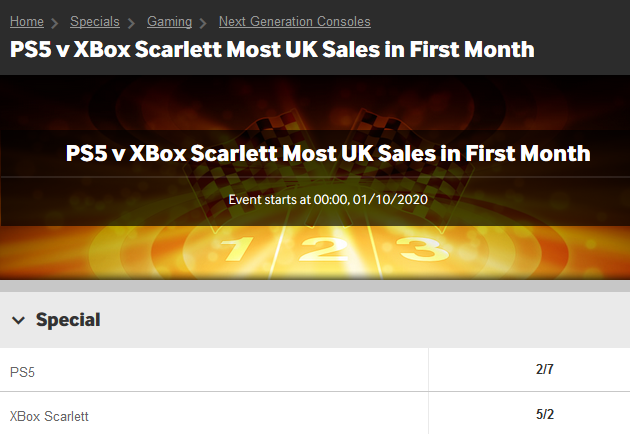 bookmaker betway ps5 xbox scarlett fractional betting odds