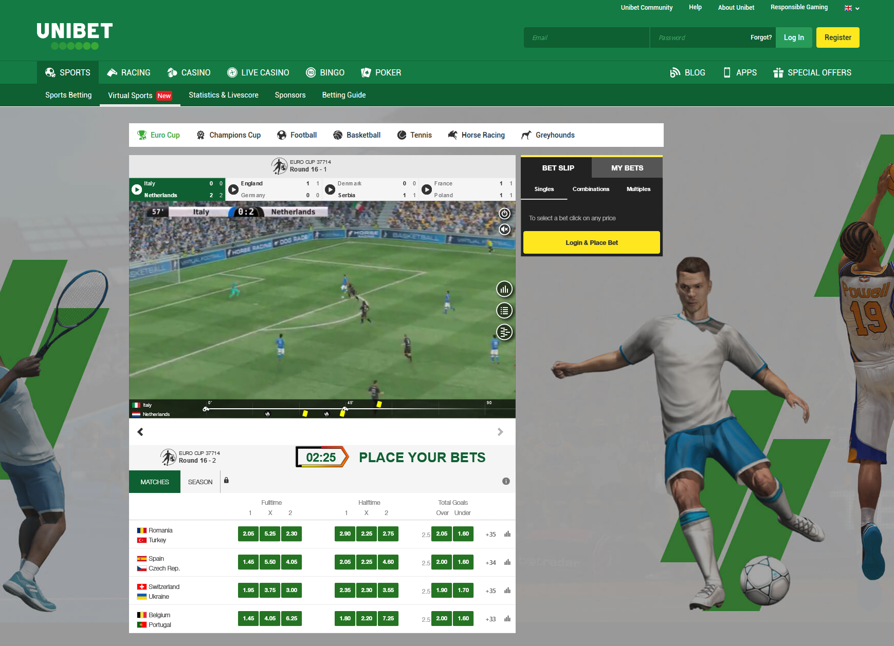 bookmaker unibet virtual sports betting offer