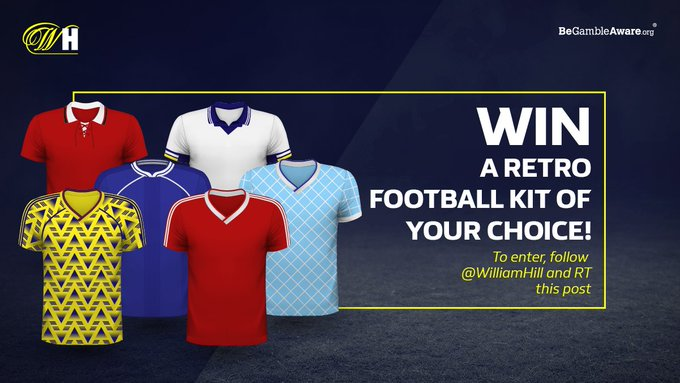 bookmaker william hill twitter retro football shirt giveaway
