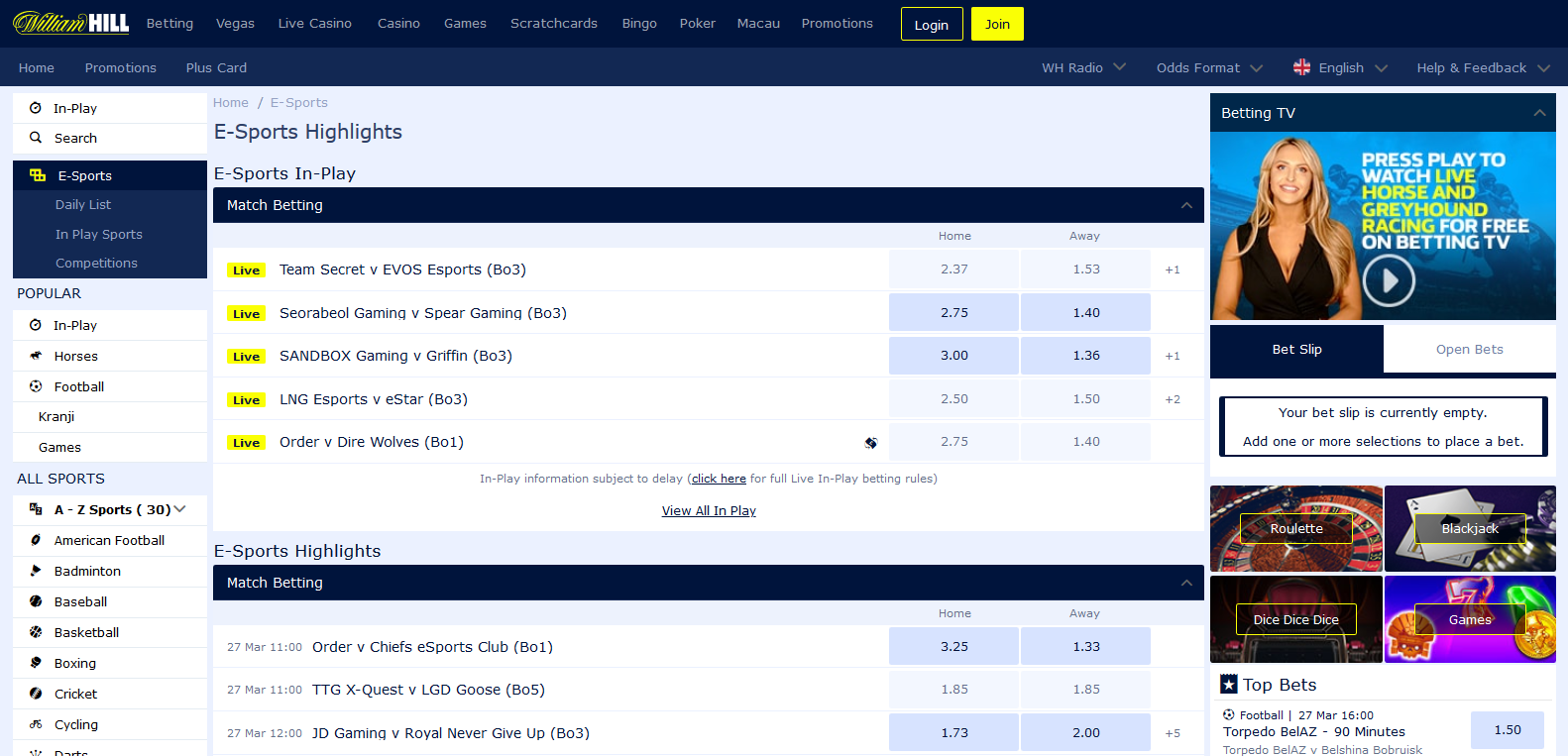 william hill esports betting offer